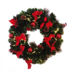 Jingles Fibre Optic Poinsettia Wreath – 60cm