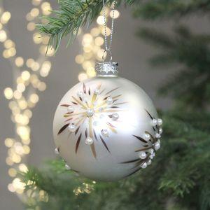 Jingles Pearl Snowflake Design Glass Bauble, 8cm - Ivory & Bronze