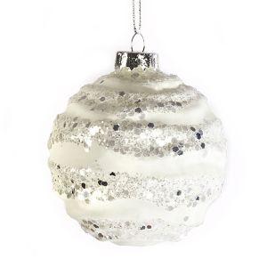 Jingles Silver Glitter Swirl Bauble, 8cm – White