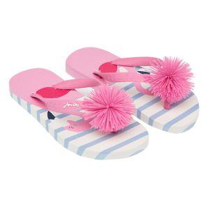 Joules Junior Pom-Pom Flip Flops - White Flamingo