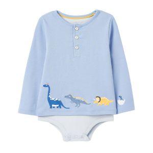 Joules Baby Joshua Mock Layer Babygrow – Blue Dinos