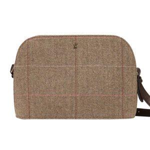 Joules Adeline Dome Tweed Cross Body Bag – Dark Brown Check