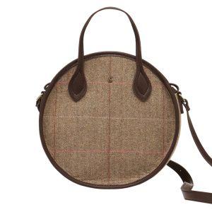 Joules Adeline Round Mini Tweed Bag – Dark Brown Check