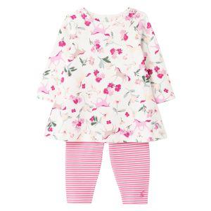 Joules Baby Christina Cotton Dress & Leggings Set – White Unicorn Floral