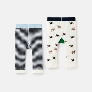 Joules Baby Lively Knit 2 Pack Leggings – Cow & Sheep