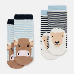 Joules Baby Neat Feet 2 Pack Character Socks – Cow & Sheep