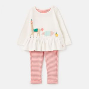 Joules Baby Olivia Cotton Top & Trouser Set – White Animals