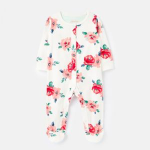 Joules Baby Razamataz Cotton Jersey Baby Grow – White Floral