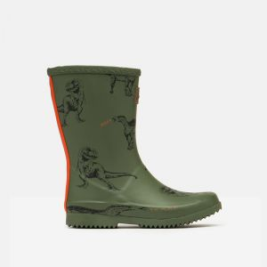 Joules Children's Roll Up Wellingtons - Green Dino