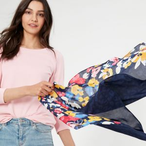 Joules Conway Lightweight Printed Scarf – St Ives Meadow / Leopard Border