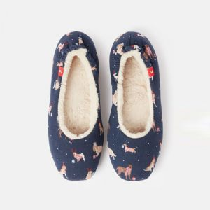 Joules Ladies Dreamwell Slippers - Navy Christmas Dog