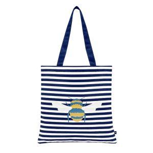 Joules Lulu Canvas Tote Bag – Cream Bee Stripe