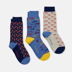 Joules Men's Striking Cotton Socks, Pack of 3 – Multi Animal