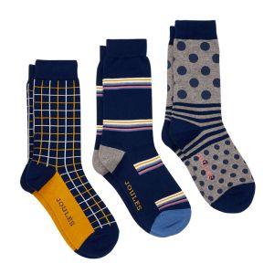Joules Men's Striking Cotton Socks, Pack of 3 – Multi Pattern