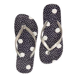Joules Women's Flip Flops – Navy & Cream Spots