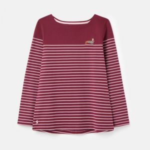 Joules Women's Harbour Embroidered Jersey Top – Purple Potion Stripe