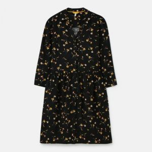 Joules Women's Karis Placket Shirt Dress – Black Primrose