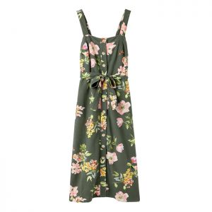 Joules Women's Kimia Button Through Strap Dress – Green Floral