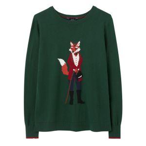 Joules Women's Miranda Knitted Crew Neck Jumper – Green Mr Fox