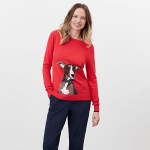 Joules Women's Miranda Knitted Crew Neck Jumper – Red Dog