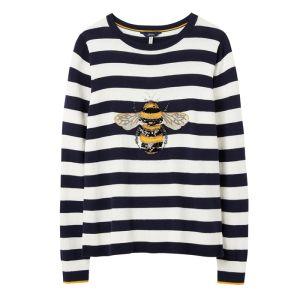 Joules Women's Miranda Luxe Knitted Crew Neck Jumper – Navy Cream Stripe