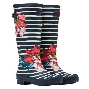 Joules Women's Printed Wellies – Navy Floral Stripe