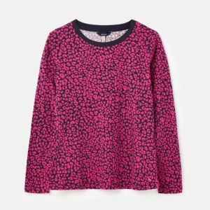 Joules Women's Selma Long Sleeve Crew Top – Navy Leopard