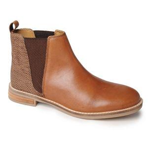 Silver Street Juliet Boots – Cognac/Tweed
