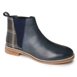 Silver Street Juliet Boots – Navy/Tweed
