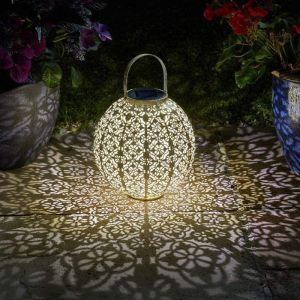 Smart Solar Jumbo Damasque Lantern - Gold