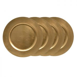 Kaemingk Christmas Charger Plate- Gold, Set of 4