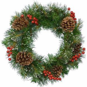 Decoris Snow, Berry and Cone Wreath - 50cm