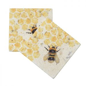 Kate of Kensington Marble Coasters – Honeycomb Bees, Pack of 4