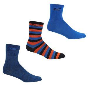 Regatta Children's Outdoor Lifestyle Socks, Pair of 3 – Navy/Blue/Amber