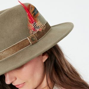 Joules Women's Fedora Felt Hat – Khaki