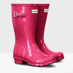 Hunter Original Children's Gloss Wellington Boots - Bright Pink