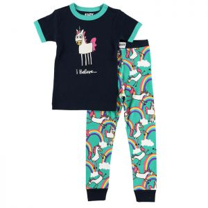 LazyOne 'I Believe' Unicorns Kids PJ Set - Black/Turquoise