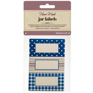 KitchenCraft Home Made Jam Jar Labels - Stitched Stripes, 30 Pack