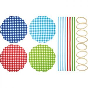 KitchenCraft Home Made Fabric Jam Jar Covers - Gingham, 8 Pack