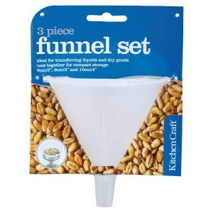 KitchenCraft Polypropylene Food Safe Funnel - 3 Pack