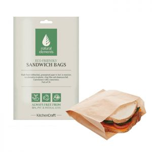 KitchenCraft Natural Elements Greaseproof Paper Sandwich Bags - Pack of 30, 15x25cm