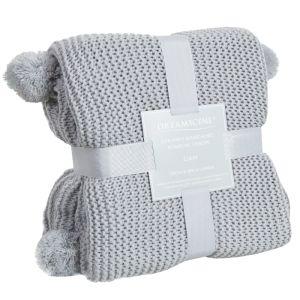 Dreamscene Large Chunky Knit Pom Pom Throw - Silver