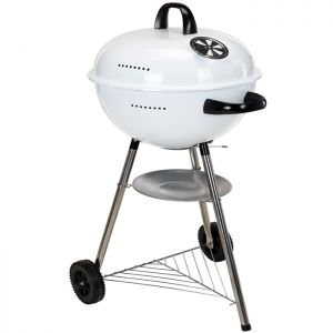 Round Charcoal Barbecue on Wheels - White
