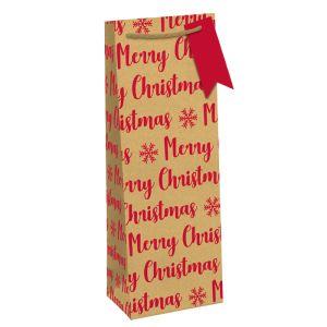 Kraft Eco Red Merry Christmas Bottle Bag