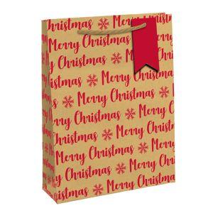 Kraft Eco Red Merry Christmas Gift Bag, Extra Large