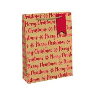Kraft Eco Red Merry Christmas Gift Bag, Medium
