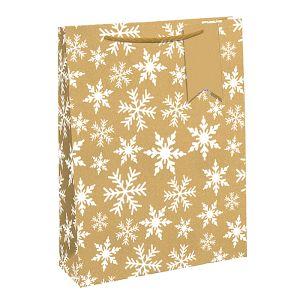 Kraft Eco White Snowflake Gift Bag - Large
