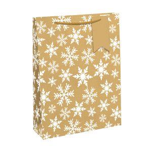 Kraft Eco White Snowflake Gift Bag - Medium