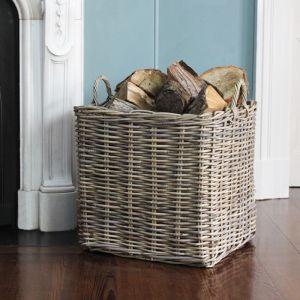 Large Square Wicker Log Basket - Grey