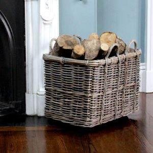 Medium Rectangular Log Basket With Wheels - Grey